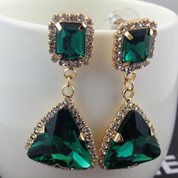 Ювелирные изделия аксессуары серьги зеленый кристалл самоцветы сексуальный star золото серьги-капельки для женщины