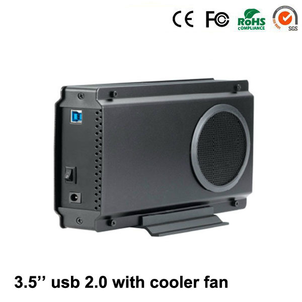 Aluminum Black Silver USB 2.0 to SATA up to 3TB Combo 3.5 Inch HDD External Enclosure With Big Cooler Fan(China (Mainland))