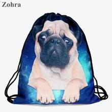 Pug dog 3D printing Women fashion brand backpack sport man Travel Gym bags mochila feminina Zohra Classic forever drawstring bag