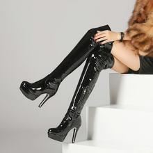 Patent Leather Sexy Đùi Cao Gót Khởi Động Mùa Đông Phụ Nữ Trên Khởi Động Đầu Gối Cộng Với Kích Thước Giày Platform Zipper Đỏ Đen màu(China)