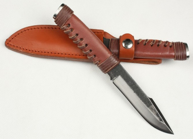 Buy Handmade Forging Hunting Fixed Knives,High-carbon Steel Blade Leather Rope Handle Camping Knife. cheap