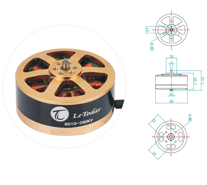 LeTodar 6010-280KV Brushless AC Motor CW/CCW for RC Quadcopter RC Multi axis Aircraft RC Drone Accessories Spare Parts