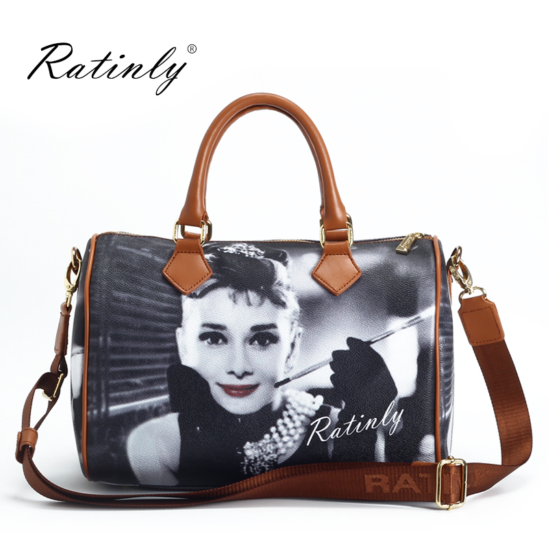 England Style Versatile Characters Embossing Pillow Boston Bag Women Handbag Leather Accessories(China (Mainland))