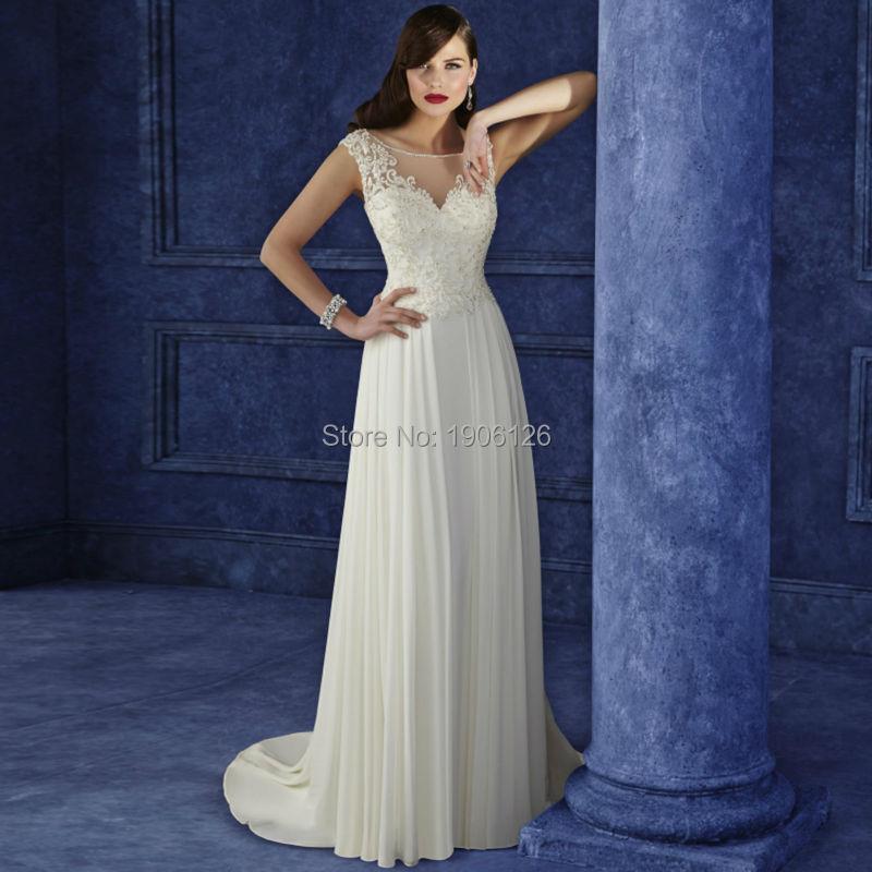 Off White Bridal Dress Lace Wedding Gown Simple Bride Dresses Zipper Scoop Vestido De Noiva 2016