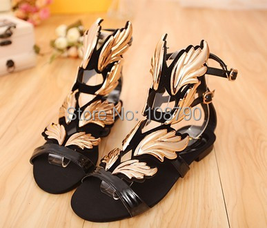 New 2014 Ladies Summer Designer Gold Wings Flat Sandals Gladiator Women Sandals Beach Shoes Woman Female Footwear Size 35-42