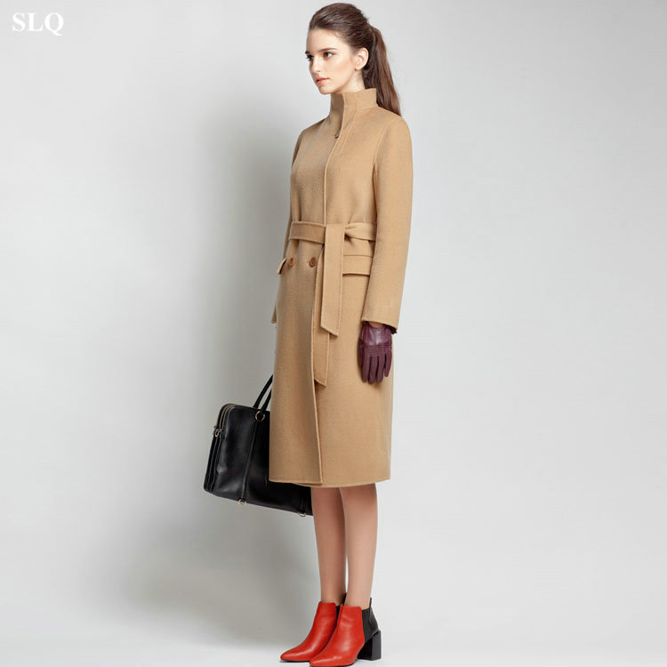 Long Camel Wool Coat Jacketin