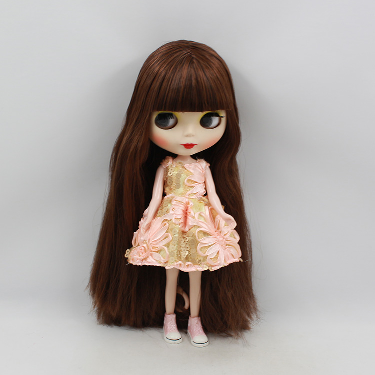 Free shipping Blyth doll nude Brown two-tone fringe hair dolls for girls suit for DIY bjd doll(China (Mainland))