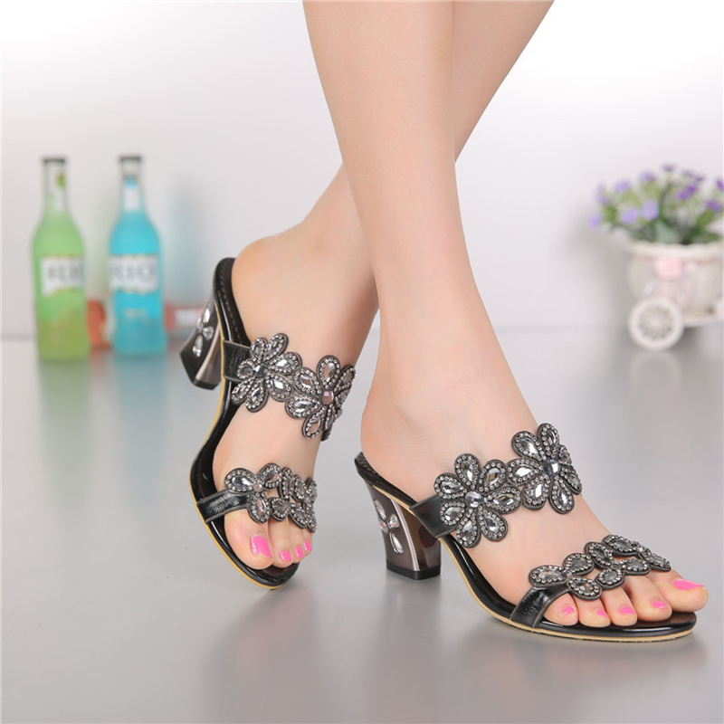 Women sandals,2015 new styles peacock high-heeled shoes thick thin wedges genuine leather rhinestone female sandals GS-T002BKC(China (Mainland))