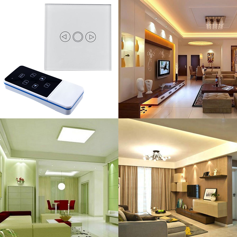1 Gang Light Lamp LED Touch Sensor Dimmer Efficient Remote Control White Crystal Glass Panel Switch UK<br><br>Aliexpress