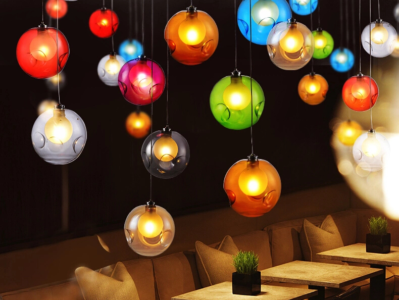 Shop and home using best choice colored pendant lighting, colorful pendant light, glass ball light(China (Mainland))
