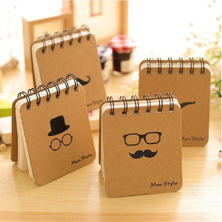 """Man Style"" 1 PC Mini Blank Diary Planner Cute Pocket Coil Journal School Study Notebook Agenda Notepad Free Memo Note Gift(China (Mainland))"