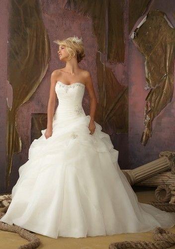 Дешевой цене! Бесплатная доставка! 2015 новое поступление А линии милая бисероплетение Vestido свадебные платья FS1129