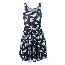Fashion 1131 Women 3D printing cartoon dinosaur prints elastic summer sexy Girl skater one-piece vest pleated dress