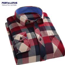 Port&Lotus Men Shirt 2016 Spring Autumn Casual Plaid Long Sleeve S-4XL Shirt Men's Clothes Mens camisa masculina107 wholesale(China (Mainland))