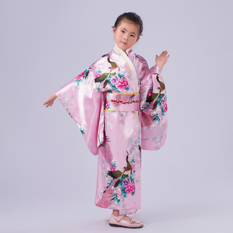 Free Shipping Pink Children Yukata Obi Vintage Japanese