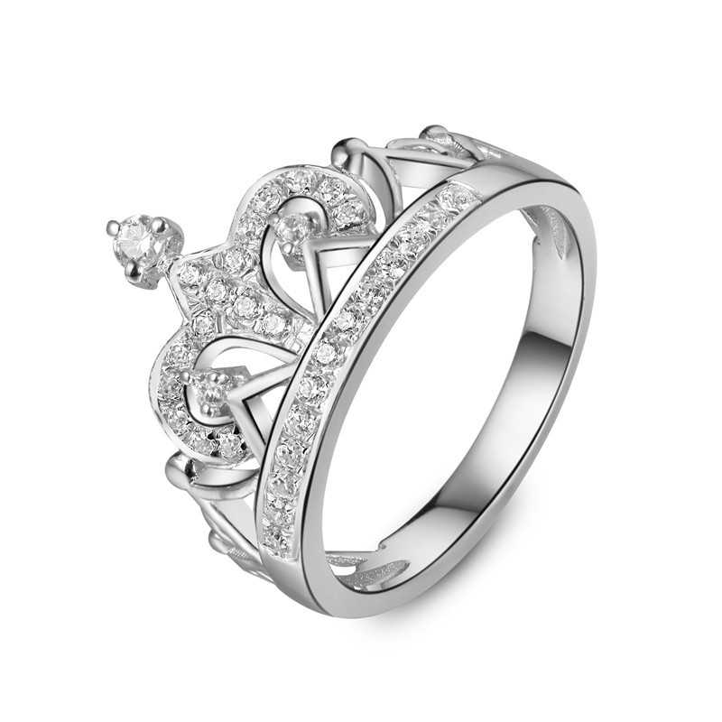 Royal Design Crown Style Synthetic Diamond Female Marriage Ring 925 Silver Bridal Promise Jewelry For Anniversary Day(China (Mainland))
