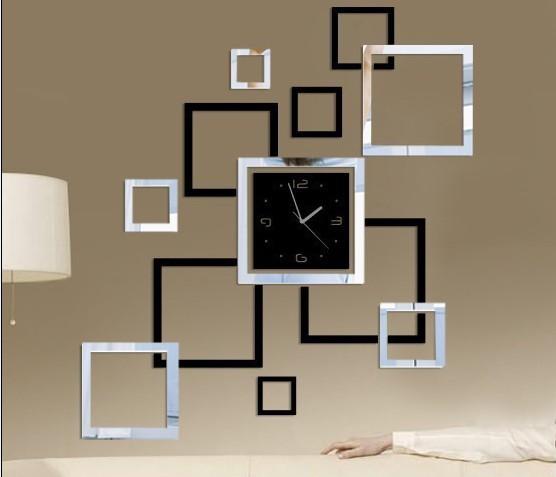 Unique d coration de la maison miroir cadre effet horloge for Horloge murale design moderne