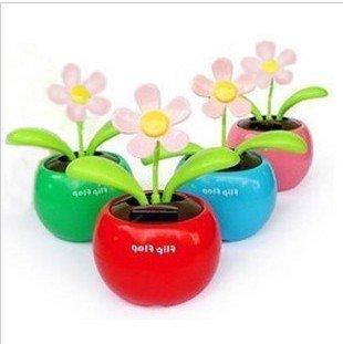 5pcs/lot Swing Solar Flower,Magic Cute Flip Flap Swing Solar Flower,Green,Blue,Pink Solar Plant Swing Solar Toy(China (Mainland))