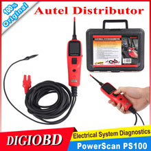 Electrical System Diagnostic Tool Autel PowerScan PS100 Battery Tester Electrical System Circuit Tester(China (Mainland))