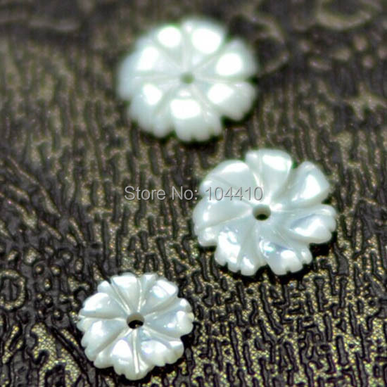 8mm New Fashion Hand Carved Natural MOP Shell Flower Beads Drilled Spacer Beads Wholesale(China (Mainland))