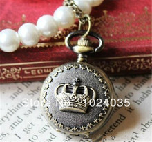 100pcs/lot Hot selling new designer jewelry antique gold color alloy number crown pocket watch with chain(China (Mainland))
