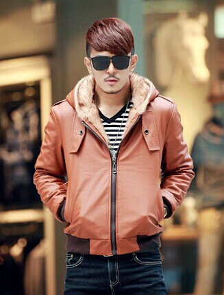 New 2014 fashion colum down jacket men leather blazer men's coat cuir jaqueta couro Add wool slim With the hat free shiping(China (Mainland))