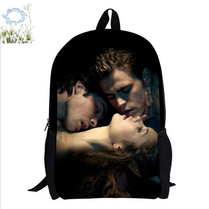 16Inch The Vampire Diaries Backpack Customized Double Zipper Mochila Feminina School Bag Mochila Teenage Free Shipping A059