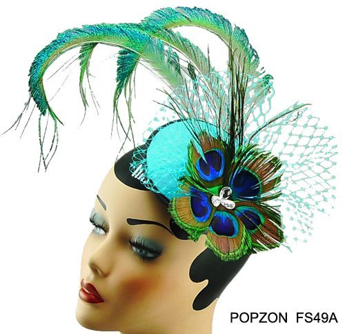 2012 Fashion Hair Accessories, Assorted colors, Free shipping,Peacock Feather Fascinator