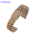 High Quality Stainless Steel watchband 18mm 20mm Rose Gold Silver Gold Strap Bracelet For Mens Womens