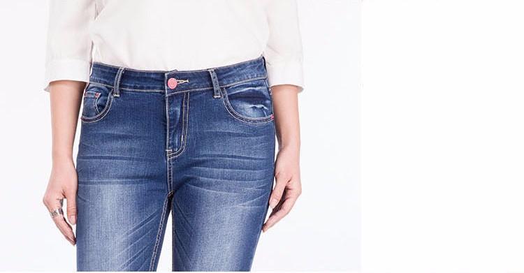 Скидки на 2016 новый осень карандаш брюки женская мода синие джинсы середине талия молния брюки полная длина тонкий женщины брюки упругие джинсы 9720