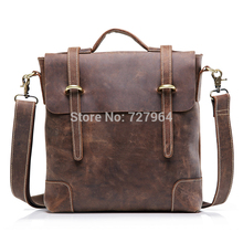 teemzone - Men's Vintage Crazy Horse Leather Genuine Leather Business Case Briefcase Messenger Shoulder Bag J30(China (Mainland))