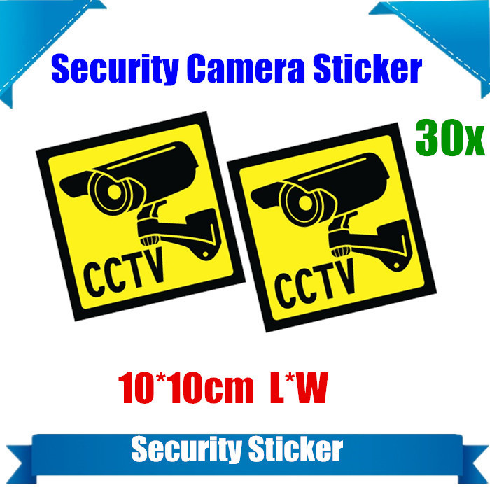 30PCS/lot  Home CCTV Surveillance Security Camera Video Sticker Warning Decal Signs <br><br>Aliexpress