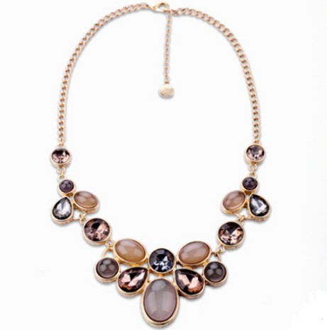 free Promotion Shipping 2014 New Arrive Fashion Luxury Elegant Brand The Beautiful Gems Chain Statement Necklace Top Quality(China (Mainland))