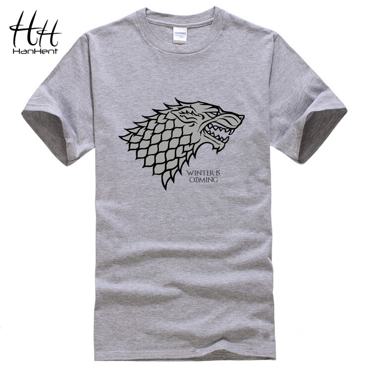 Hanhent Game of Thrones Wolf T-shirt Stark Winterfell Cotton Tee shirt Winter is coming Casual Streetwear T shirt Fitness(China (Mainland))