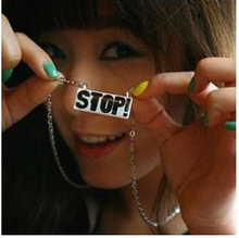 na076 2015 New Fashion Hot Selling Korean Street Fashion Personality Stop Letter Pendants Long Necklace(China (Mainland))