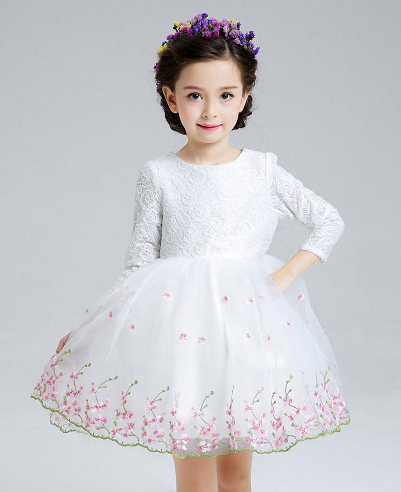 2016 The new  dress with girls long-sleeved wedding dress flower girl dress princess dress L76CX 10pcs/lot  DHL free shipping<br><br>Aliexpress
