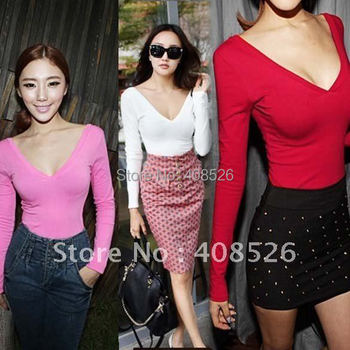 Women's Shirt Candy Color Sexy Long Sleeve Low V-neck Backless Bottoming T-Shirt Black, White, Red, Pink Free shipping 18