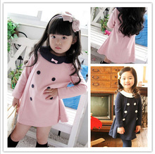 Buy 2017 Spring Summer Girl Dress Long Sleeve Double-breasted Baby Girl Party Dress 2-6 Years Children Clothes Kids Clothing for $6.57 in AliExpress store