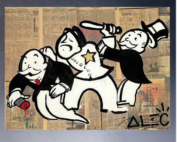 ALEC-MONOPOLY HUGE NAILED canvas print POP ART Giclee poster print on canvas for wall decoration painting(China (Mainland))
