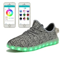 RZWOLF summer New fashion Unique mobile APP control smart usb charging flynit breathable luminous yzy Yeezy LED shoes men(China (Mainland))