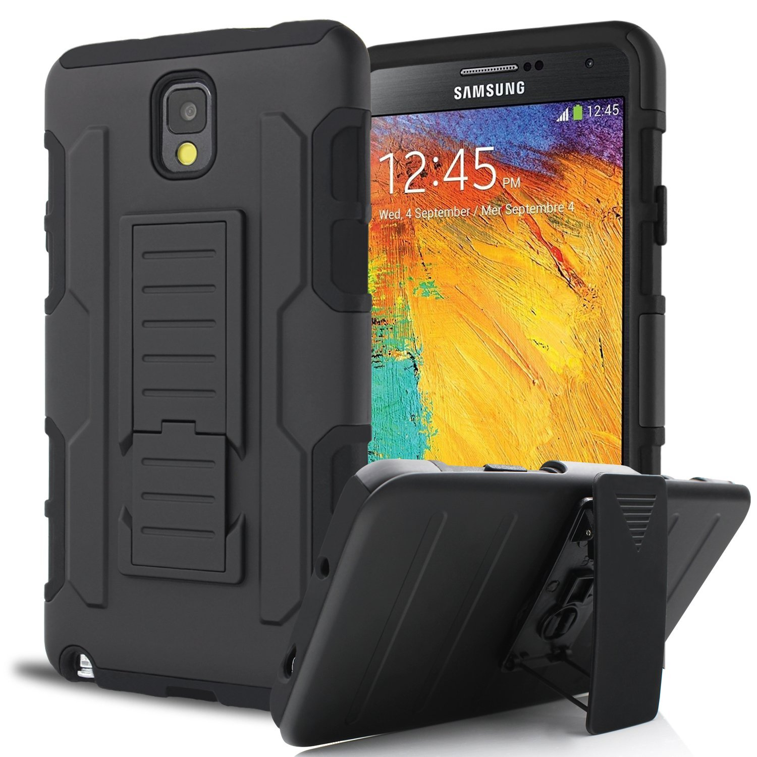 For Samsung Galaxy Note 3 N9000 Dual Layer Hybrid Armor Phone Case Full Body Protective Kickstand Swivel Belt Clip Cover(China (Mainland))
