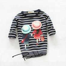 Girls clothes 2015 New Spring/Summer  girl t shirt summer long sleeve bobo choses striped o-neck girls tops Children Clothing(China (Mainland))