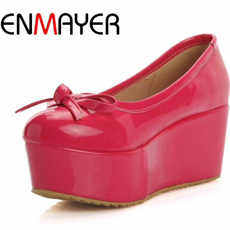 ENMAYER2015 New sweet bow Platform pumps comfortable and generous women pumps patent leather shoes women Black / Red / Pink<br><br>Aliexpress
