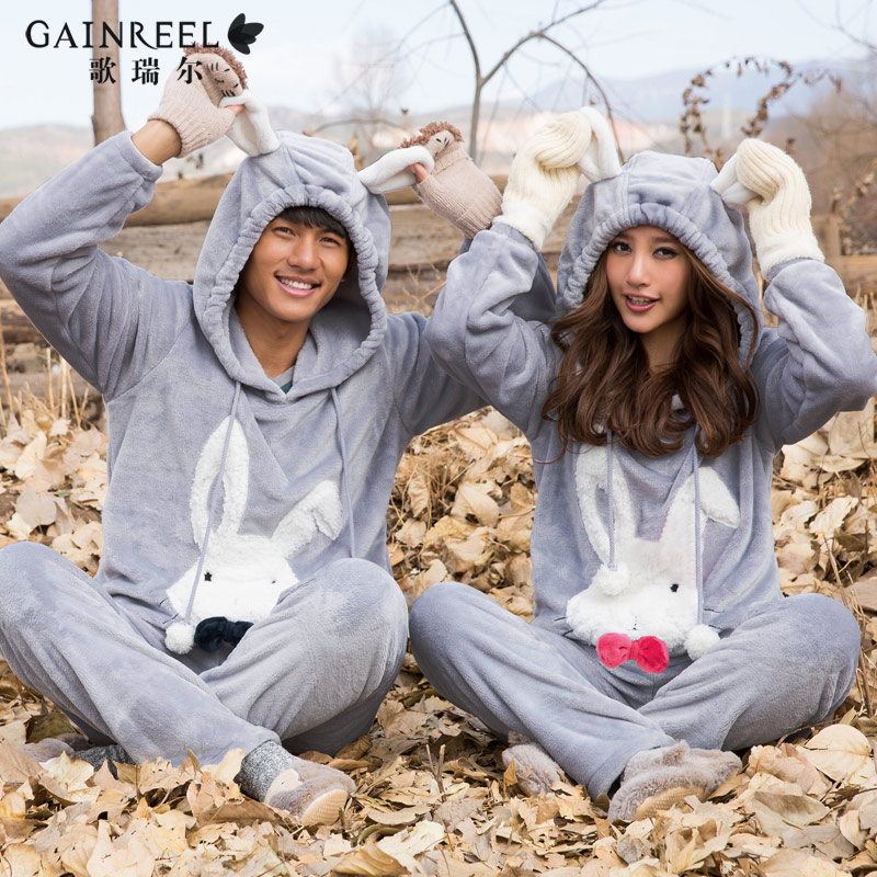 Song Riel autumn and winter warm flannel pajamas cartoon couple of men and women suit tracksuit