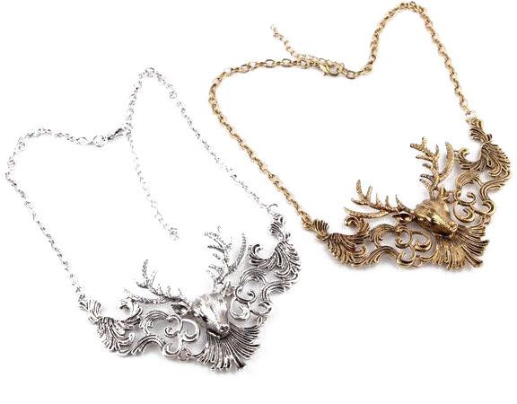 2015 Top Fashion Collar Animal Pendant Necklace Retro Avatar Popular Short-chain Ancient Bronze Fashion Jewelry Wholesale Deer(China (Mainland))
