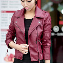 New Spring Women Leather Jacket Red Black PU Plus Size Jackets Motorcycle Leather Jacket Slim Casual Coat