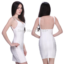 Cocktail White Dresses Bodycon Bandage Dress Blue Elegant Deep V Neck Backless Halter Knitted summer Sexy Club Clothing dress(China (Mainland))