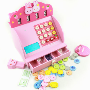 Free Shipping!Baby Toys Cartoon Simulation Cash Register Children Wooden Educational Toys Play House Toys Christmas Gift(China (Mainland))