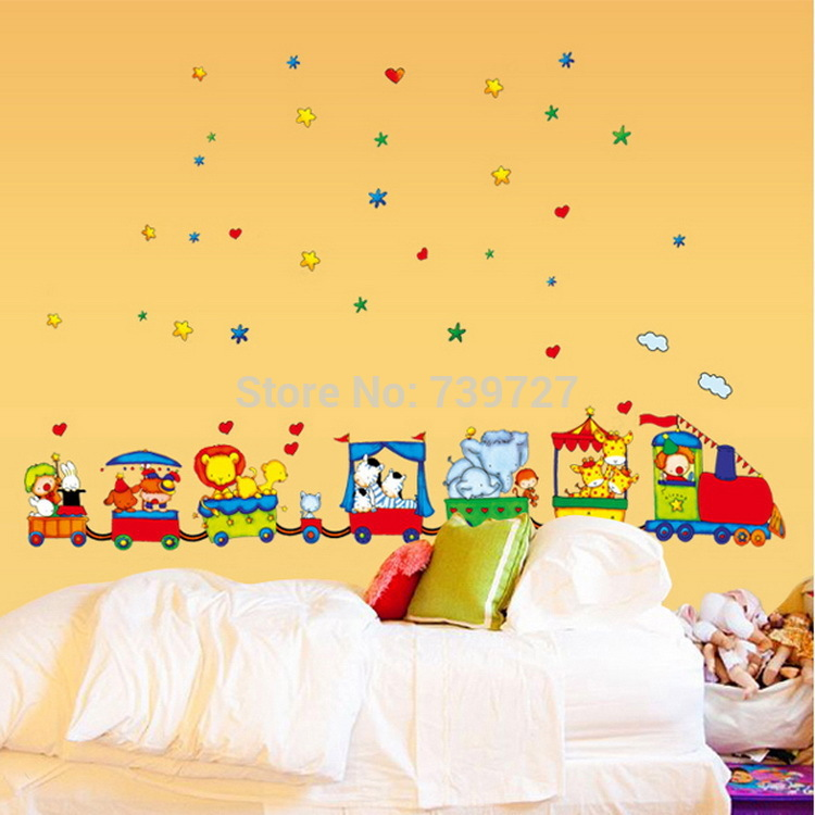 90*60cm New Lovely Circus Train DIY Removable Vinyl Nursery and Kids Bedroom Home Decoration Mural Wall Stickers Decal 9065(China (Mainland))
