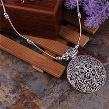 Buy Tibetan Jewelry Vintage Silver Plated Bohemian Hollow Carved Round Pendants Necklaces Chain Necklaces Women Bijouterie Femme for $1.49 in AliExpress store